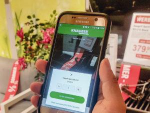 Der rheinische Baumarktbetreiber Knauber bietet in allen 6 Filialen Smartphone-Scanning an.