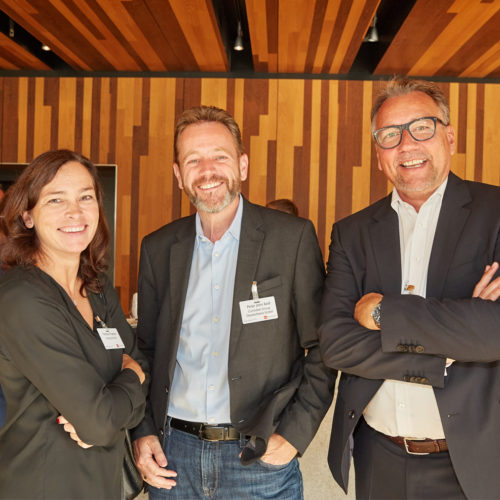 Lichtexperten im Austausch: Yvonne Froelich (Ansorg), Peter John Keil (Zumtobel) und Ralph Knorrenschild (Nordeon Group BV)