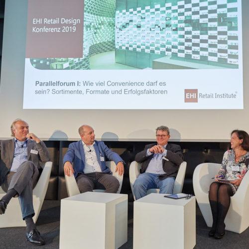 Diskutierten über Convenience: Koen Hazewinkel (Store Europe Retail Concepts), Dr. Jochen Stürz (Tegut), Stephan Brübach (Dr. Eckert, Stuttgart), Claudia Horbert (EHI) (v.l.n.r)