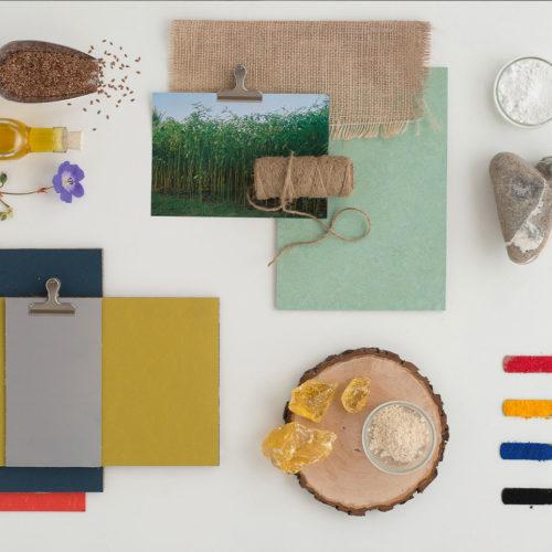 Von Natur aus klimafreundlich: die hier abgebildeten elastischen Bodenbelags- Materialien Leinöl, Jute, Kalkstein oder Naturharze