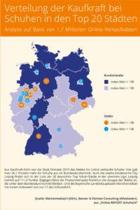 Verteilung der Kaufkraft bei Schuhen in den TOP 20-Städten auf Basis der Schuhe24-Verkaufsdaten