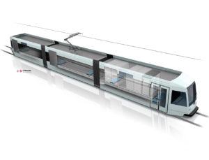 Mit der Cargo Tram gelangen die standardisierten Container in die Innenstadt zum Microhub.