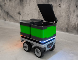 Der autonom fahrende Roboter des efeu Campus hält Wind und Wetter stand und kann Bürgersteige und Steigungen bewältigen.