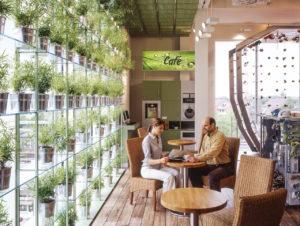 Kaffee im Grünen: Café-Fläche bei Globetrotter in Hamburg