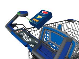 Entsichern und Produkte scannen mit dem Smartphone am Scantrolley von Wanzl