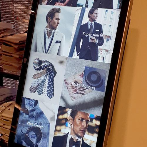Der Info- und Bestell-Bildschirm in der Hemdenabteilung.