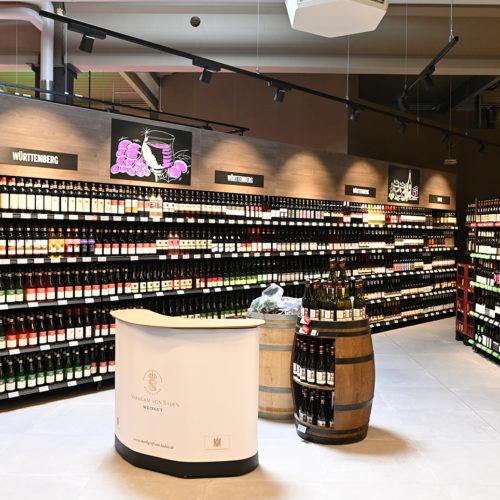 Die Weinabteilung zählt zu den Profilierungssortimenten in der Markthalle Balingen