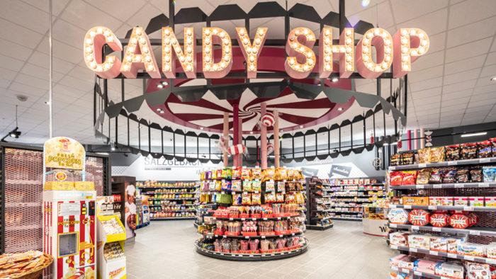 50er Jahre Candy Shop: Die Süßwarenabteilung.