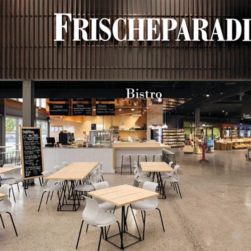 Frischeparadies Basel: Das Bistro im Eingangsbereich verbindet das Feinkostgeschäft mit dem Großmarkt