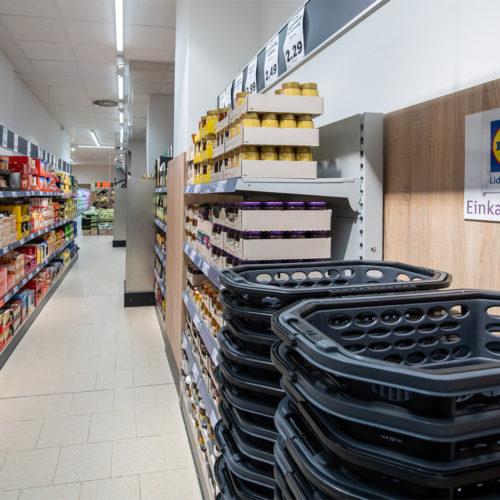 Fahrbare Einkaufskörbe statt Einkaufswagen