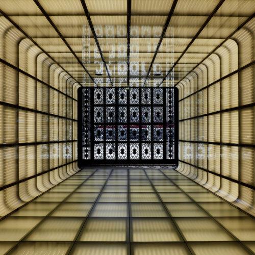 Der futuristische Eingangstunnel