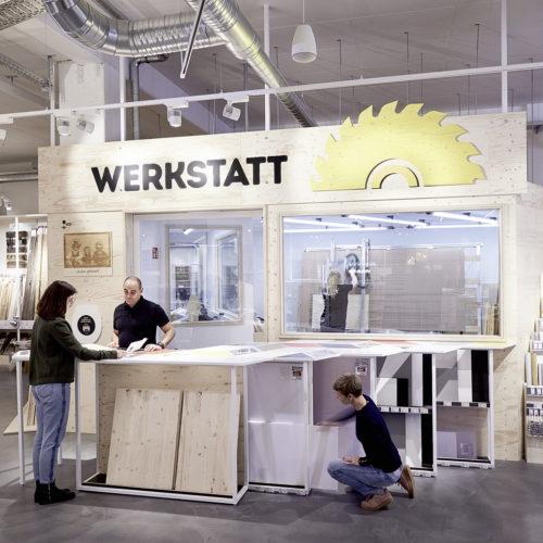 """Die """"Werkstatt"""" für den Holzzuschnitt"""