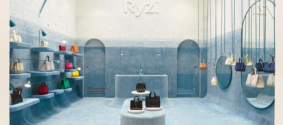 Das brasilianische Architekturbüro Pistache Ganache verantwortete das gesamte Design des ersten Ladengeschäfts des Handtaschen-Labels Ryzi.