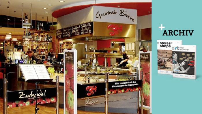 """Das """"Gourmet-Bistro"""" bei Zurheide Feine Kost in Düsseldorf. Außer dem Bistro gibt es auf der 7.000 qm großen Fläche einen """"Grillpoint"""" und eine """"Café Lounge"""". Ausgestattet sind die Gastro-Einheiten mit Profi-Kochtechnik von MKN."""