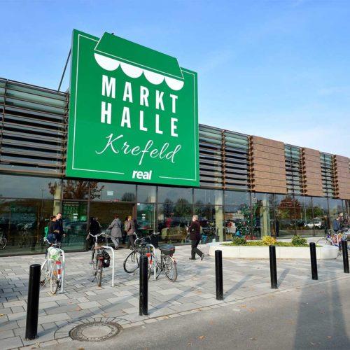Außenfassade der neuen Markthalle in Krefeld (Foto: Real SB-Warenhaus)