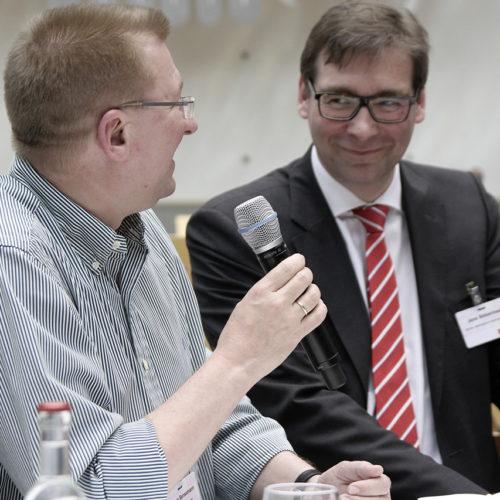 Ulrich Bensemann (Rossmann) und Jens Siebenhaar (Rewe) beziehen Position für den Handel.